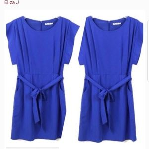 Eliza J belted blue dress